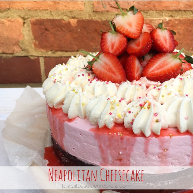 Brownie topped with Strawberry Cheesecake and Vanilla Whipped Cream